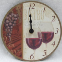 Red Wine Wall Clock - 15cm Diameter